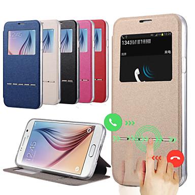 Για Samsung Galaxy Θήκη με βάση στήριξης / με παράθυρο tok Πλήρης κάλυψη tok Μονόχρωμη Συνθετικό δέρμα Samsung S5