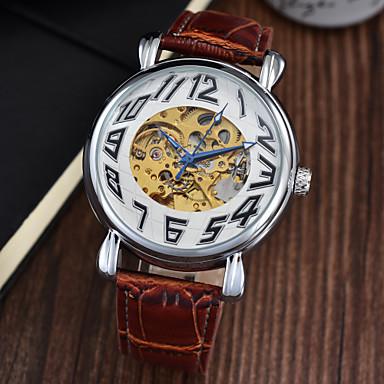 Masculino Relógio de Pulso relógio mecânico Automático - da corda automáticamente Cronógrafo Impermeável Couro Banda Luxuoso Preta Marrom