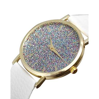 Mulheres Quartzo Relógio Pavé imitação de diamante PU Banda Amuleto Fashion Preta Branco