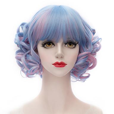Synthetische pruiken Kinky Curly Met pony Dichtheid Zonder kap Dames Blauw Carnaval Pruik Halloween Pruik Kort Synthetisch haar