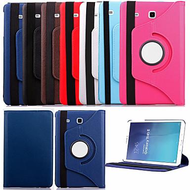 tok Για Samsung Galaxy Samsung Galaxy Θήκη με βάση στήριξης Ανοιγόμενη Περιστροφή 360° Πλήρης Θήκη Συμπαγές Χρώμα PU δέρμα για Tab E 9.6
