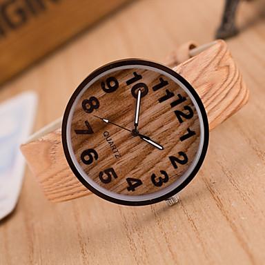 여성용 석영 손목 시계 뜨거운 판매 가죽 밴드 빈티지 나무 패션 브라운 카키