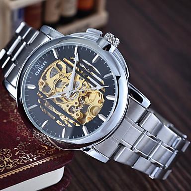 Homens relógio mecânico Relógio de Pulso Automático - da corda automáticamente Impermeável Lega Banda Prata