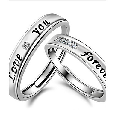 4a263ce22d cheap Rings-Women's Couple Rings Band Ring Sterling Silver Crystal  Rhinestone