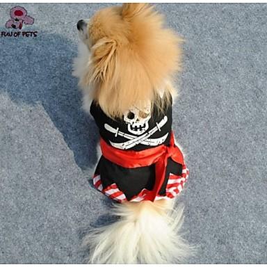 Gato Cachorro Macacão Roupas para Cães Fashion Caveiras Preto Ocasiões Especiais Para animais de estimação