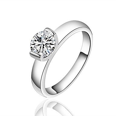 Damen Ring Synthetischer Diamant Silber versilbert Kreisförmig Grundlegend Weihnachts Geschenke Hochzeit Party Besondere Anlässe