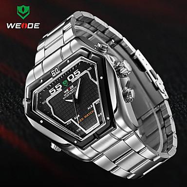 Недорогие Часы на металлическом ремешке-WEIDE Муж. Наручные часы Кварцевый Японский кварц Нержавеющая сталь Черный / Серебристый металл 30 m Защита от влаги Будильник Календарь Аналого-цифровые Кулоны -  / Два года / Секундомер / LED
