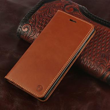 Voor Huawei hoesje / P8 Kaarthouder / Flip hoesje Volledige behuizing hoesje Effen kleur Hard Echt leer Huawei Huawei P8