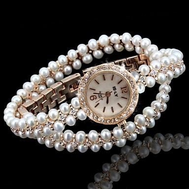 Mulheres Único Criativo relógio Bracele Relógio Relógio de Moda Quartzo imitação de diamante Lega Banda Brilhante Boêmio Com Pérolas