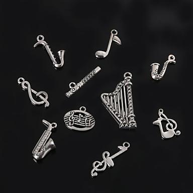 beadia instrumento musical de metal& notas musicais pingentes charme antigo de prata banhado jóias acessórios DIY