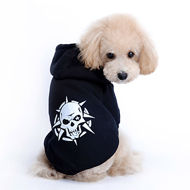 cheap Dog Clothing & Accessories-Cat Dog Hoodie Dog Clothes Skull Black Terylene Costume For Spring &  Fall Winter Men's Women's Casual / Daily Fashion