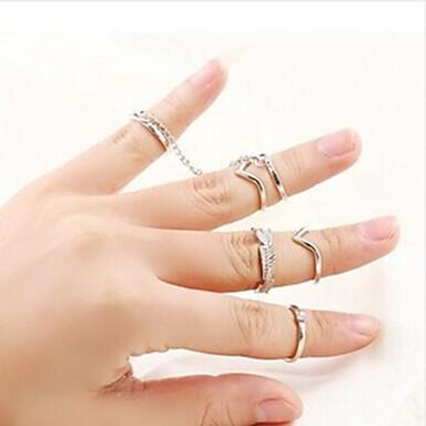 Anéis Fashion Pesta Jóias Feminino Anéis Meio Dedo 1conjunto,Tamanho Único Dourado / Prateado