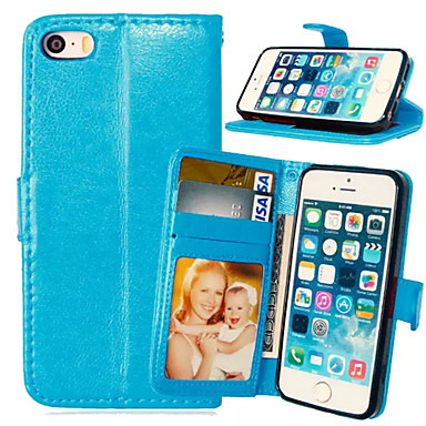 Case For iPhone 5 Apple iPhone 5 Case Card Holder Wallet with Stand Flip Full Body Cases Solid Color Hard PU Leather for iPhone SE/5s