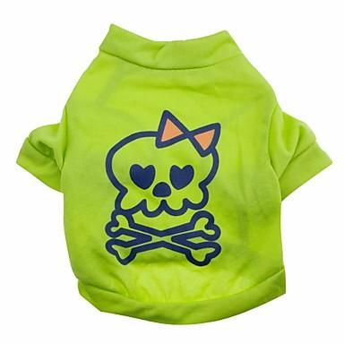 고양이 개 티셔츠 그린 강아지 의류 여름 모든계절/가을 해골 귀여운 할로윈