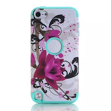 lotus patronen van hoge kwaliteit snap-on pc + siliconen hybride combo armor geval dekking voor ipod touch 6 (assorti kleur)