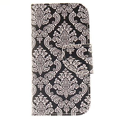 teste padrão de flor totem couro pu caso de corpo inteiro com slot para cartão e ficar para Samsung Galaxy S4 mini-