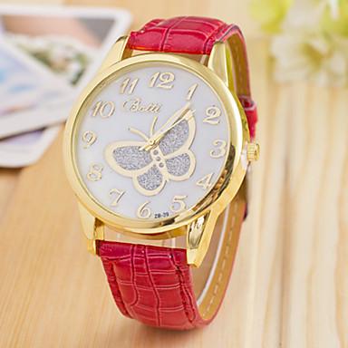 Dames Modieus horloge Kwarts imitatie Diamond Leer Band Vlinder Zwart Wit Blauw Rood Bruin Groen Roze Paars