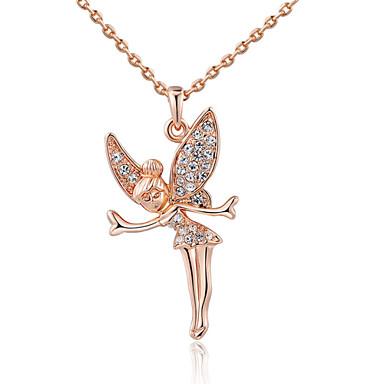 billige Krystalhalskæder-Dame Krystal Halskædevedhæng Angel Wings skytsengel Damer 18K Guldbelagt Simuleret diamant Legering Sølv Rose Guld Halskæder Smykker Til