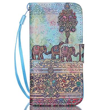 tok Για Θήκη iPhone 5 Θήκη καρτών με βάση στήριξης Πλήρης κάλυψη Ελέφαντας Σκληρή PU Δέρμα για iPhone SE/5s iPhone 5