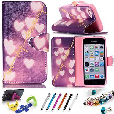 Capinha Para Apple Capinha iPhone 5 Porta-Cartão Com Suporte Capa Proteção Completa Coração Rígida PU Leather para iPhone 7 Plus iPhone 7