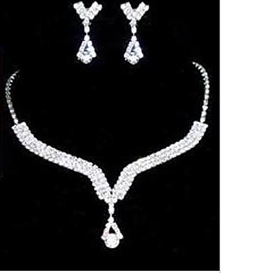 Dames Kubieke Zirkonia Sieraden set Oorbellen Kettingen - Schattig Feest Geometrische vorm Wit Sieraden Set Voor