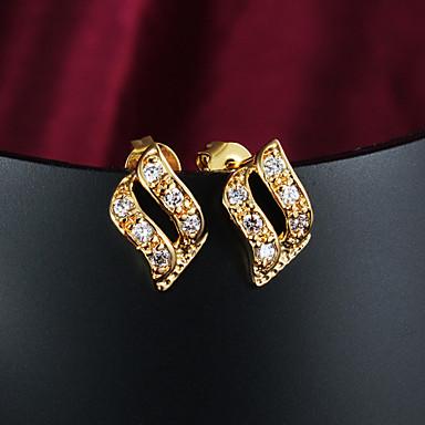 Mulheres Zircão Zircônia Cubica Chapeado Dourado Brincos com Clipe - Dourado Brincos Para Casamento Festa Diário
