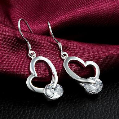 Brincos Compridos Coração Prata de Lei Zircão Formato de Coração Prata Jóias Para Casamento Festa Diário Casual 1 Conjunto