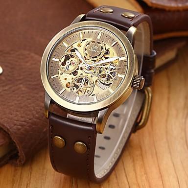 SHENHUA Homens Relógio de Pulso Automático - da corda automáticamente Gravação Oca Couro Banda Luxuoso Preta Marrom