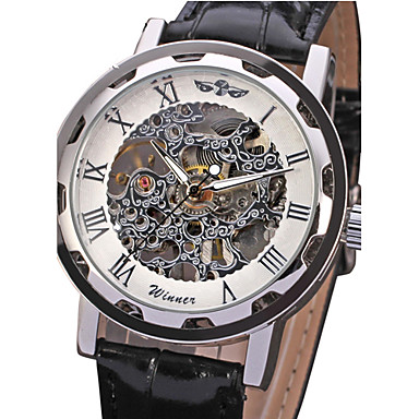 WINNER Men's Mechanical manual-winding Mechanical Watch Wrist Watch Hollow Engraving PU Band Luxury Black