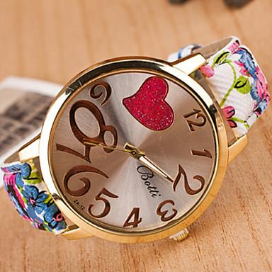 Mulheres Relógio de Moda Relógio Casual Quartzo Couro Banda Heart Shape Azul Vermelho Marrom Cinza Roxa AmareloRoxo Amarelo Marron