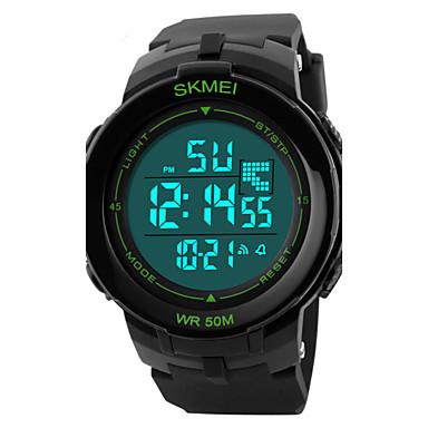 SKMEI Homens Relógio Esportivo Relógio de Pulso Digital LED Calendário Cronógrafo Impermeável alarme Relógio Esportivo PU Banda Preta