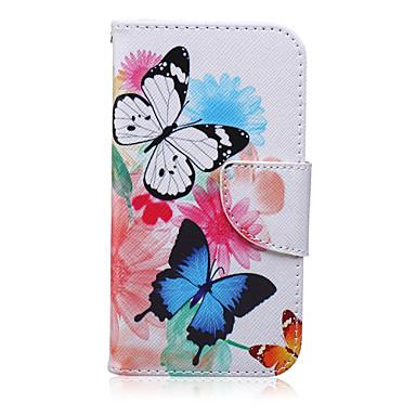 Voor Samsung Galaxy hoesje Kaarthouder / Portemonnee / met standaard / Flip / Patroon hoesje Volledige behuizing hoesje Vlinder PU-leer
