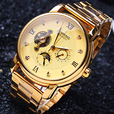 levne Pánské-Pánské mechanické hodinky japonština Automatické natahování Nerez Zlatá 30 m Voděodolné S dutým gravírováním kreativita Analogové Luxus Třpyt - Bílá Černá Zlatá / imitace Diamond