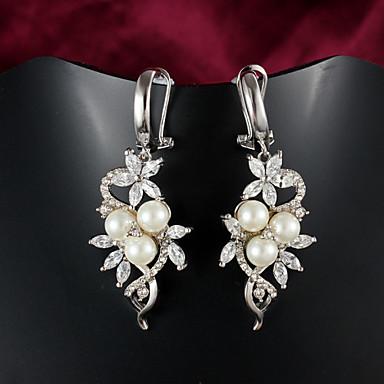 Dames Druppel oorbellen Kostuum juwelen Parel Verzilverd Sieraden Voor Bruiloft Feest Dagelijks Causaal
