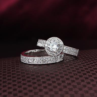 Dames Bandring Zilver Zirkonia Kubieke Zirkonia Verzilverd Bruiloft Feest Dagelijks Causaal Kostuum juwelen