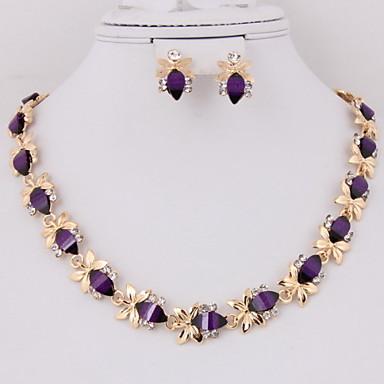 Feminino Conjunto de Jóias Moda Jóias de Luxo Chapeado Dourado Imitações de Diamante Brincos Colar ParaFesta Ocasião Especial Aniversário