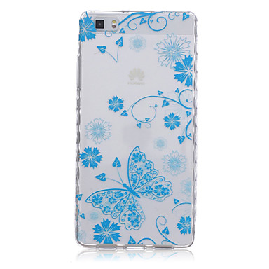 Voor Huawei hoesje / P8 / P8 Lite Doorzichtig hoesje Achterkantje hoesje Vlinder Zacht TPU Huawei Huawei P8 / Huawei P8 Lite