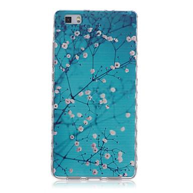 bloempatroon golven slip handvat TPU soft phone case voor Huawei p8 / p8 lite