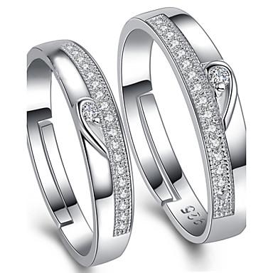 Casal Anéis de Casal - Prata de Lei, Zircônia Cubica Ajustável Prata Para Casamento / Festa / Diário
