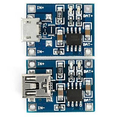 bateria de lítio 3.7V tp4056 carregamento módulo placa micro carregador usb + mini-usb carregador de módulo