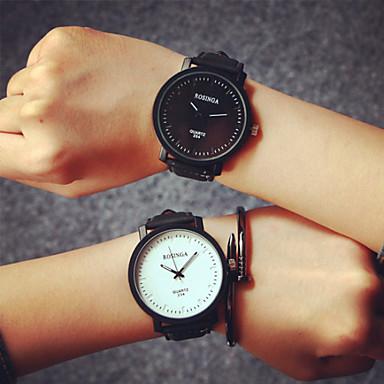 Heren Dames Voor Stel Modieus horloge Kwarts Leer Band Zwart Koffie Zwart/Wit Wit/bruin