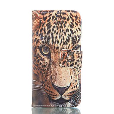 luipaard patroon pu lederen full body case met kaartslot en staan voor de iPhone 6 / 6s