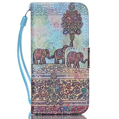 olifant patroon pu leer materiaal flip-kaart telefoon Case voor iPhone 5c