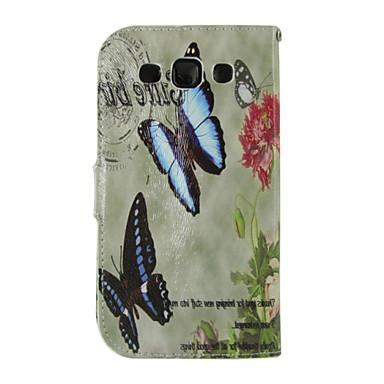 Για Samsung Galaxy Θήκη Θήκη καρτών / Πορτοφόλι / με βάση στήριξης / Ανοιγόμενη tok Πλήρης κάλυψη tok Πεταλούδα Συνθετικό δέρμα SamsungS