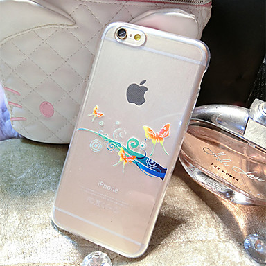 Capinha Para Apple iPhone 6 iPhone 6 Plus Transparente Estampada Capa traseira Borboleta Macia TPU para iPhone 6s Plus iPhone 6s iPhone 6