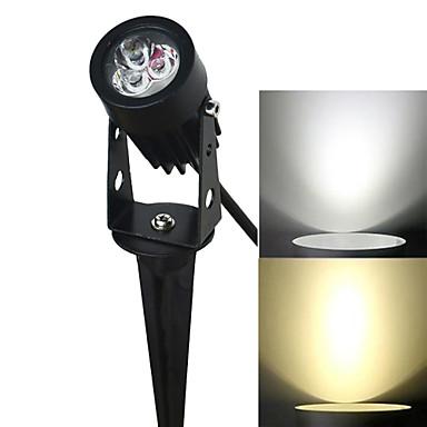 Jiawen 3W 3-led lâmpada do gramado inserção branco luz branca quente / 270lm 6500k / 3200k - preto (AC 85 ~ 265V)