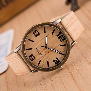 levne Pánské-Pánské Módní hodinky Hodiny Dřevo japonština Křemenný Z umělé kůže Hnědá / Šedá 30 m Hodinky na běžné nošení Analogové Přívěšky - 4# 5# 6# Dva roky Životnost baterie