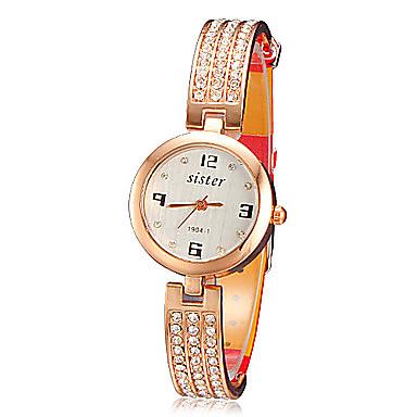 Mulheres Relógio de Moda Quartzo PU Banda Brilhante Elegant Preta Branco Vermelho Marrom