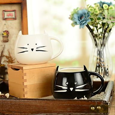 300ml siyah-beyaz şirin kedi hayvan bardağı yaratıcı su kupası (5.1