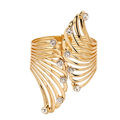 Pulseiras Algema Luxo Original Vintage Festa Trabalho Fashion Zircônia Cubica Chapeado Dourado Imitações de Diamante Outros Pena Jóias